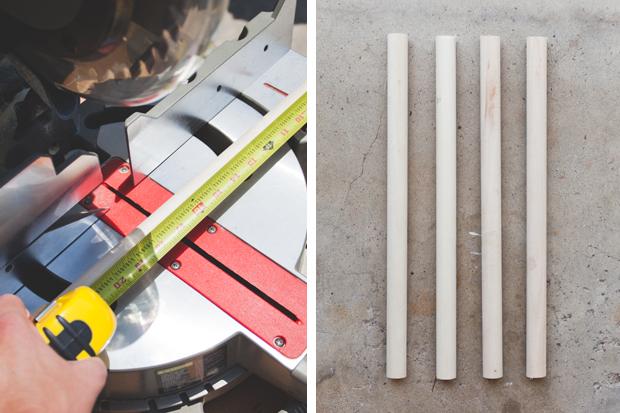 Напилите из круглых деревянных палок шириной 2,5 см 4 штуки длиной по 43,2 см