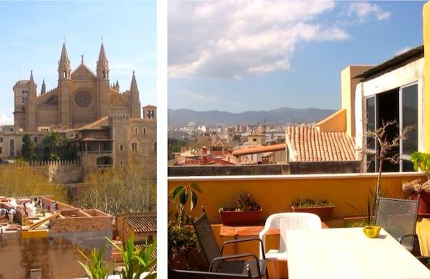 вид из салона-вестибюля на крыше хостела Apuntadores в Пальма-де-Майорка, Испания