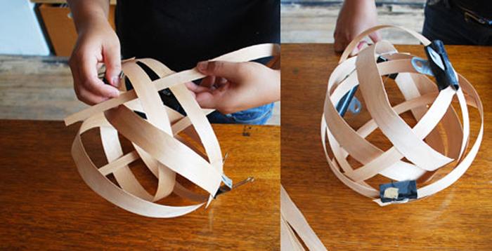 вставляйте более тонкие полоски в основу плафона