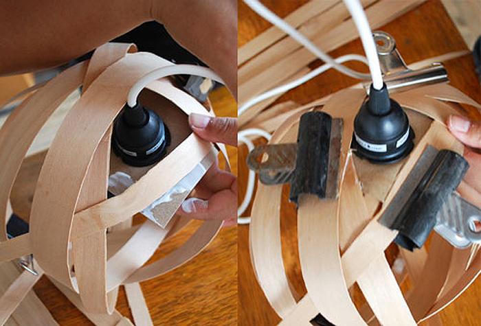 вставьте лампу, приклейте картон к полоскам из шпона