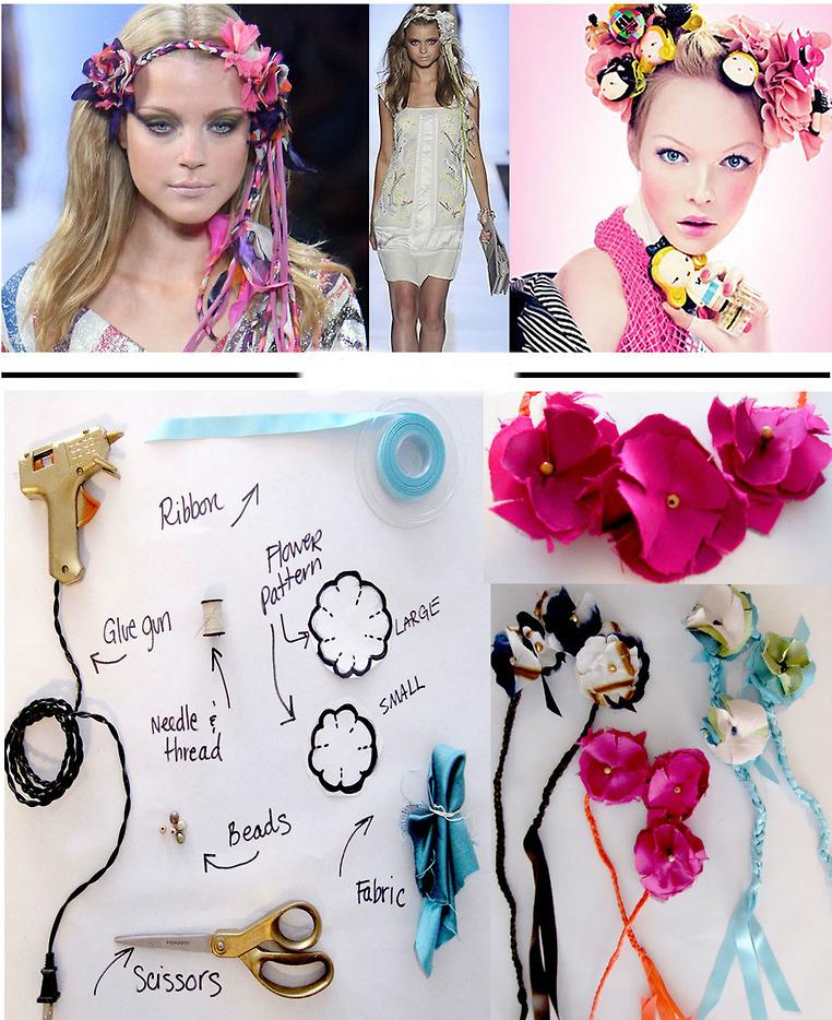 Цветы и косы - повязки-люкс на голову своими руками