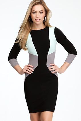 модные цветовые блоки платье для узкой талии