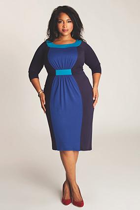 платья для полных: контрастные цвета для более тонкой талии