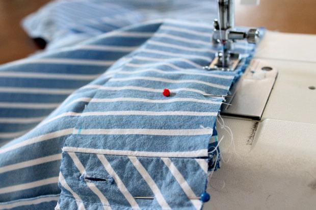 пришейте пояс к верхней части блузы