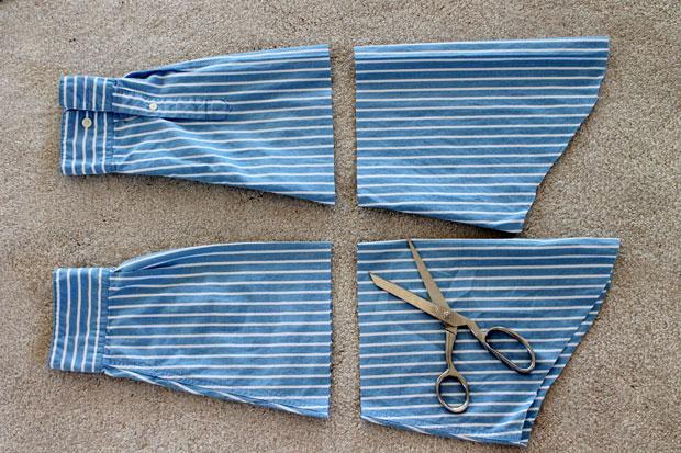 Отложите итоговую длину от верхней части рукавов (верха плеча) и отрежьте низ рукавов