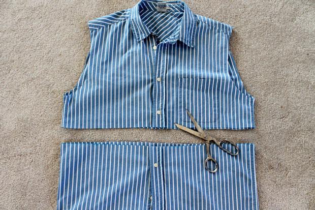 Отрежьте низ рубашки по намеченной линии талии