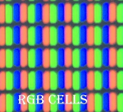 Сделать микроскоп из камеры смартфона и получать потрясающие макроснимки: тестовые снимки с линзой - RGB ячейки экрана