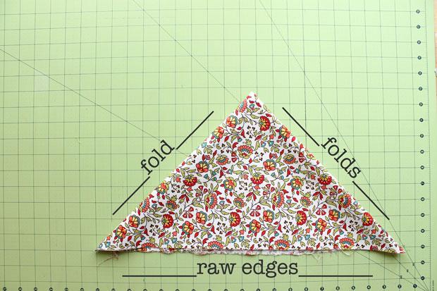 складываем ткань треугольниками, чтобы нарезать на ленты: справа налево и вниз - сгиб, сгиб, необработанный край