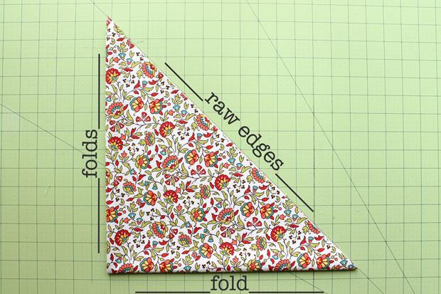 складываем ткань треугольниками, чтобы нарезать на ленты: справа налево и вниз - сгибы, необработанные края, сгибы