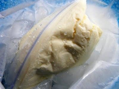 готовое мороженое в пакете, мокром ото льда