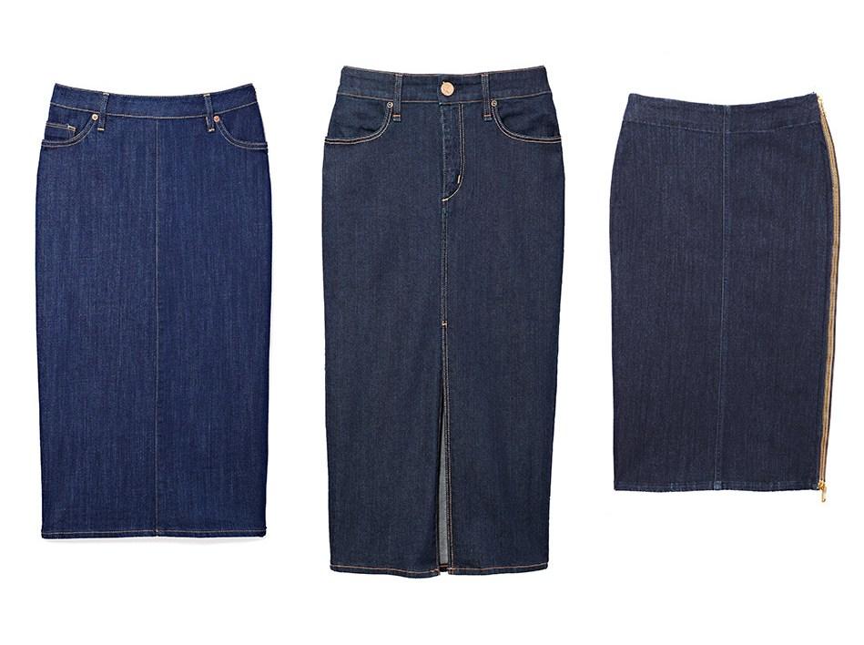 джинсовые вещи, модные тренды осень 2014:  Юбка-карандаш из денима