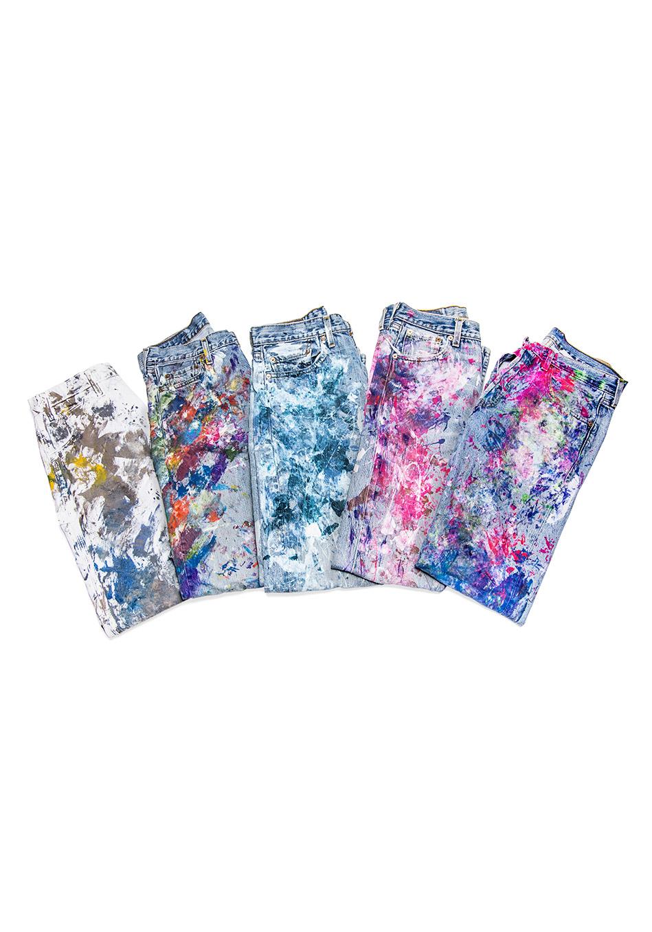 джинсовые вещи, модные тренды осень 2014:  брызги и пятна краски