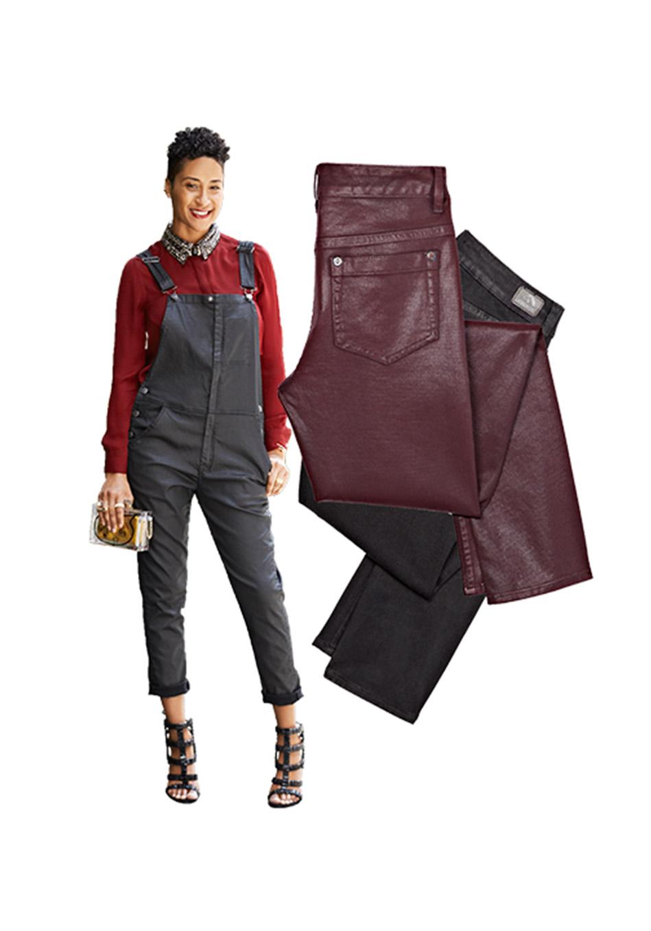 джинсовые вещи, модные тренды осень 2014:  джинса под кожу и темный цвет