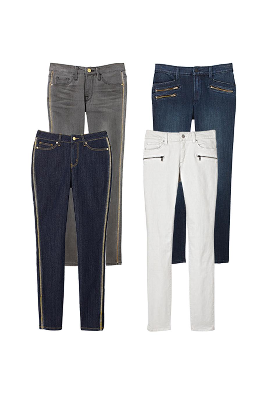 джинсовые вещи, модные тренды осень 2014:  молнии на швах и карманах