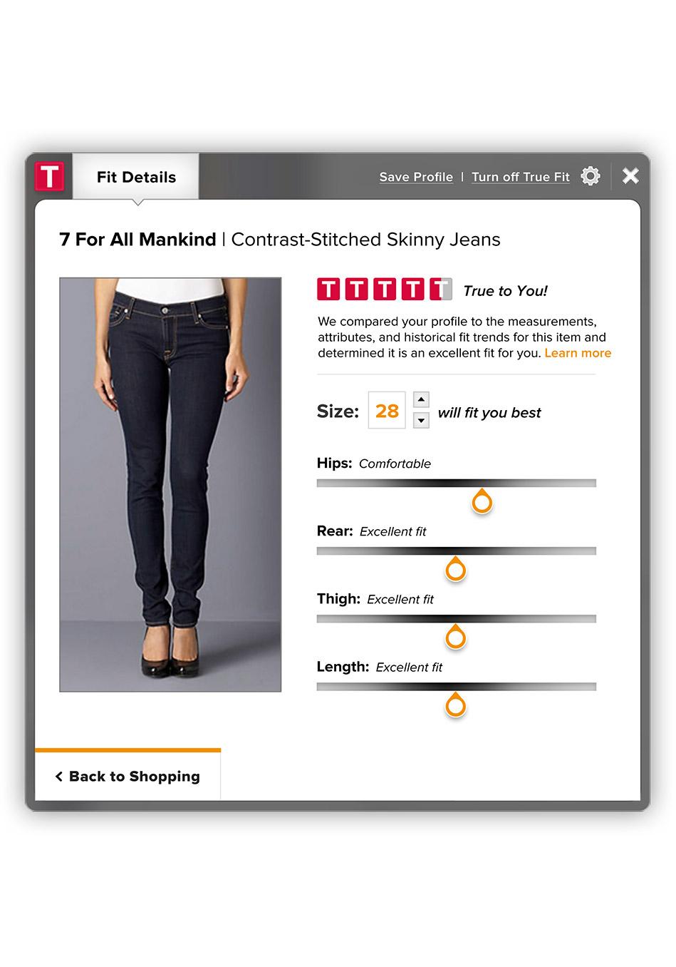 приложение для сайтов, позволяющее выбрать джинсы по фигуре