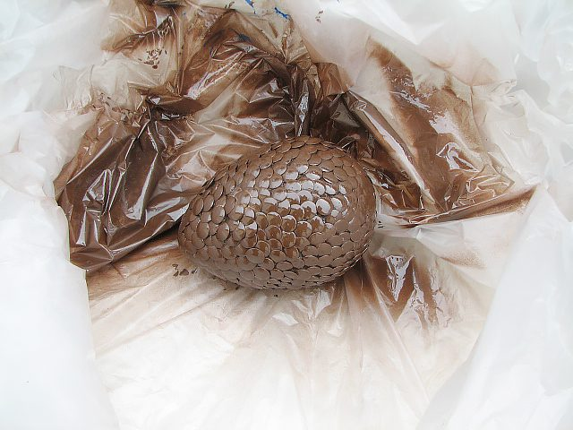 Положите яйцо на брезент. Опрыскайте его полностью коричневой под цвет выделанной кожи краской