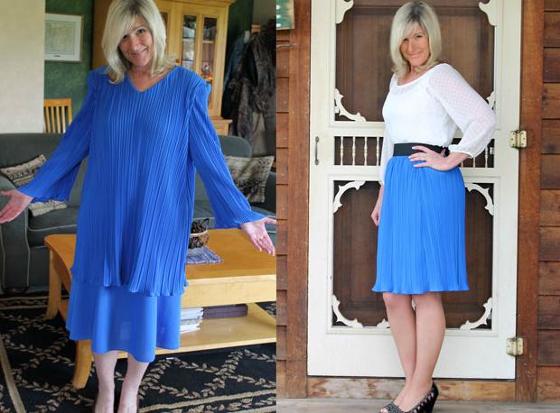 переделываем бесформенную блузу в модную плиссированную юбку