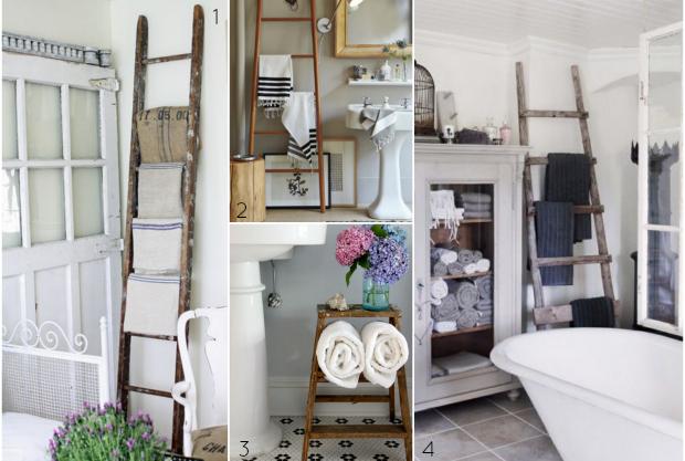 Вешалка для ванной из старой лестницы