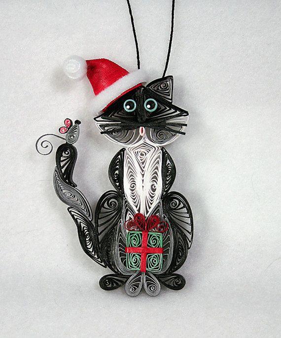 Как создавать елочные игрушки и новогодние подвески в технике квиллинг: плоские и объемные игрушки с дополнительными деталями из разных материалов, кот в колпаке