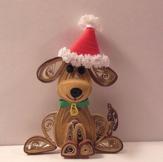 Как создавать елочные игрушки и новогодние подвески в технике квиллинг: плоские и объемные игрушки с дополнительными деталями из разных материалов, пес в колпаке