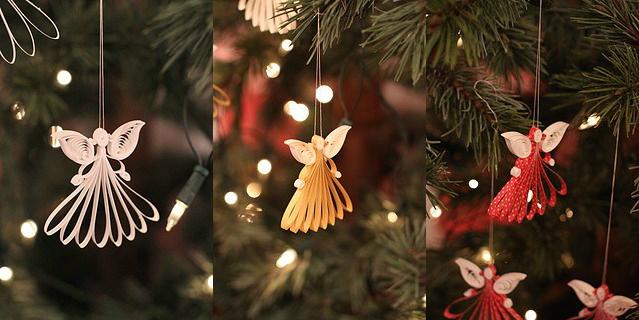 Как создавать елочные игрушки и новогодние подвески в технике квиллинг: ангелы