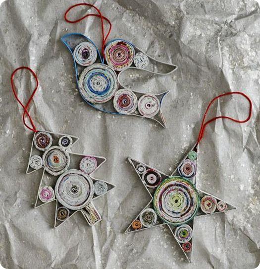 Третий вариант - плоские шары (и другие фигурки в технике квиллинг), выполненные в рамках из дерева, шпона или тонкого картона в пару слоев