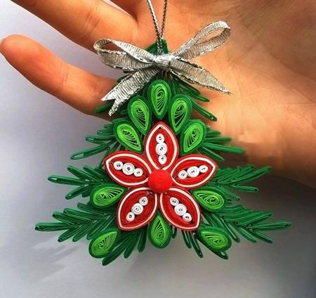 Как создавать елочные игрушки и новогодние подвески в технике квиллинг: новогодняя елка, 2 уровня