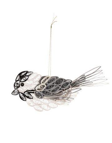 Как создавать елочные игрушки и новогодние подвески в технике квиллинг: птица, 2 уровня