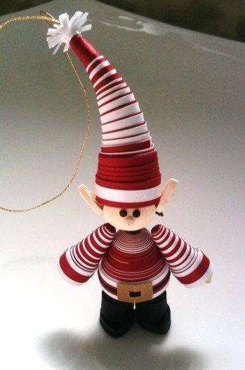 Как создавать елочные игрушки и новогодние подвески в технике квиллинг: обемные фигуры из склеиваемых уровнями деталей, эльф