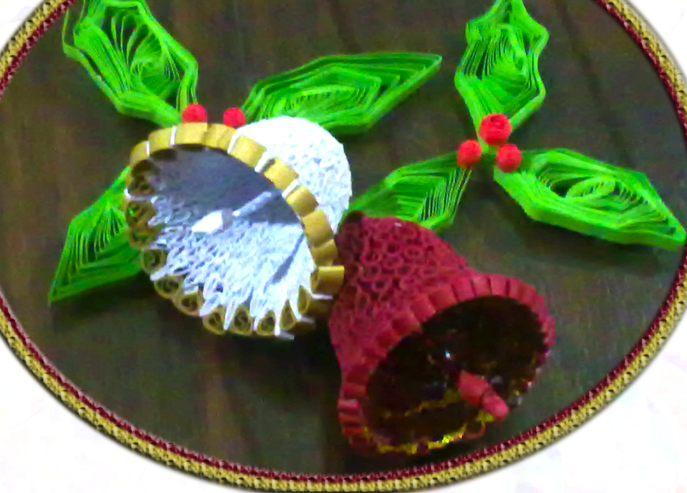 Как создавать елочные игрушки и новогодние подвески в технике квиллинг: квиллинг-детали собираются на объемной форме, завернутой в полиэтилен - колокольчики