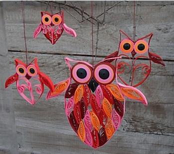 Как создавать елочные игрушки и новогодние подвески в технике квиллинг: совы