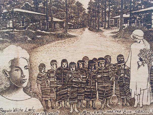Джордан Манг-Осан (Jordan Mang-osan) выжигает детальные картины лупой на дереве