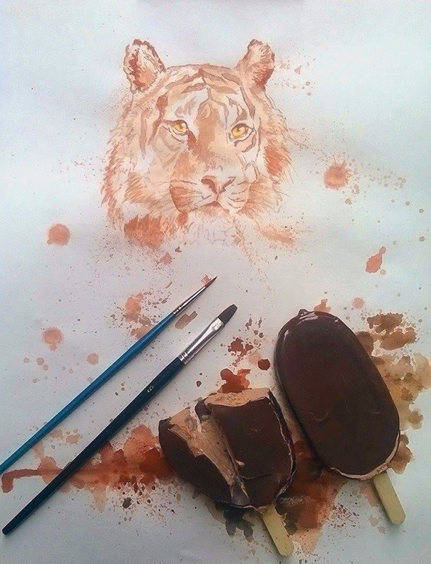 Осман Тома (Othman Toma) рисует шедевры подтаявшим мороженым тигр
