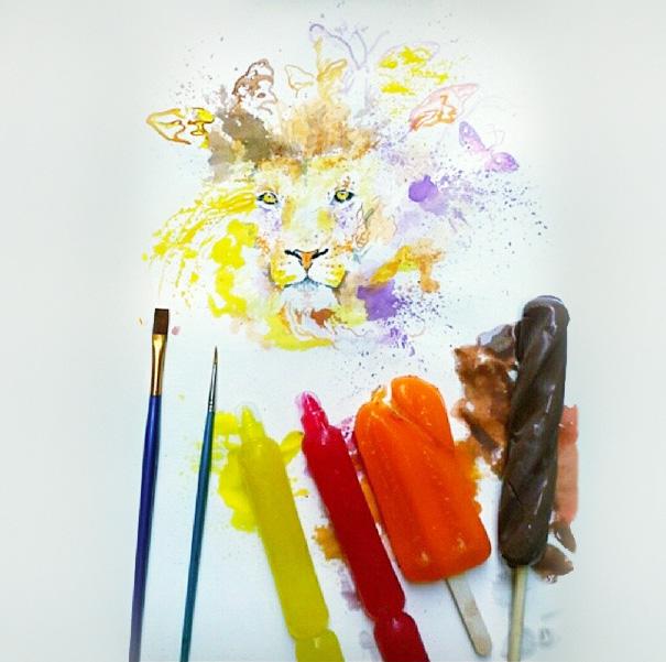 Осман Тома (Othman Toma) рисует шедевры подтаявшим мороженым лев и бабочки