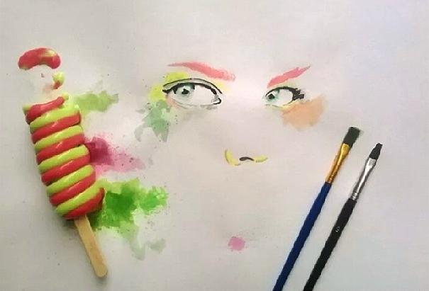 Осман Тома (Othman Toma) рисует шедевры подтаявшим мороженым девушка: накрашенное лицо