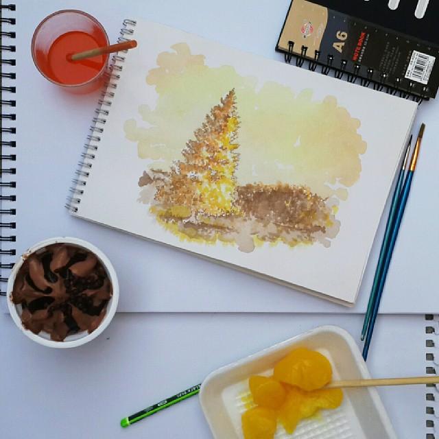 Осман Тома (Othman Toma) рисует шедевры подтаявшим мороженым: пейзаж