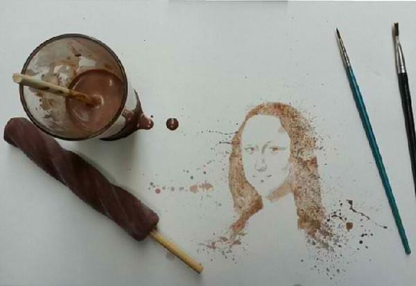 Осман Тома (Othman Toma) рисует шедевры подтаявшим мороженым: улыбка Мона Лизы