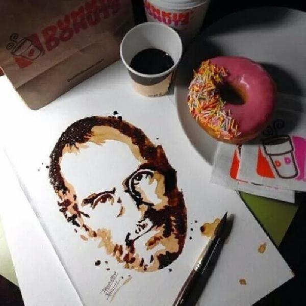 Осман Тома (Othman Toma) рисует шедевры подтаявшим мороженым: Стив Джобс