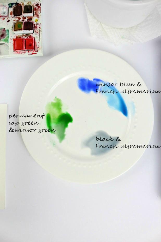 Подготовьте палитру, например, на тарелке: это должна быть смесь из зеленых и голубых оттенков.