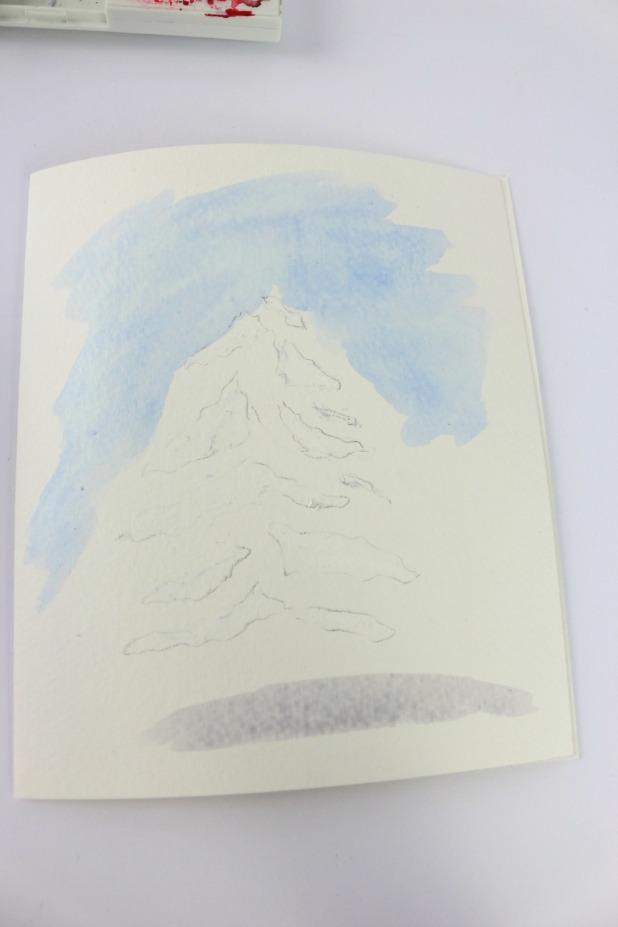 рисуем небо и тень акварелью слоями
