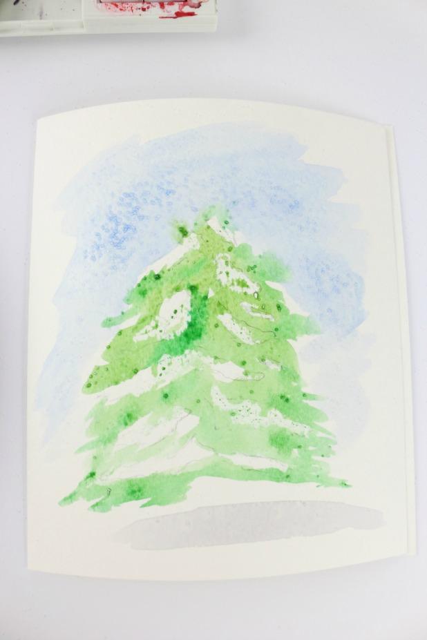 добавьте на елку зеленого акварелью, работая слоями