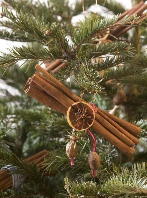 В качестве елочных игрушек связать декоративной тесьмой в симпатичный пахучий пучок коричные палочки