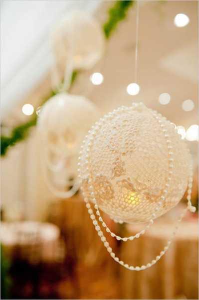 Как роскошно украсить елку в стиле а-ля натюрель: елочные игрушки своими руками - из кружевных салфеток, шары с жемчужной ниткой