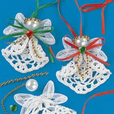 Как роскошно украсить елку в стиле а-ля натюрель: елочные игрушки своими руками - из кружевных салфеток, ангелы