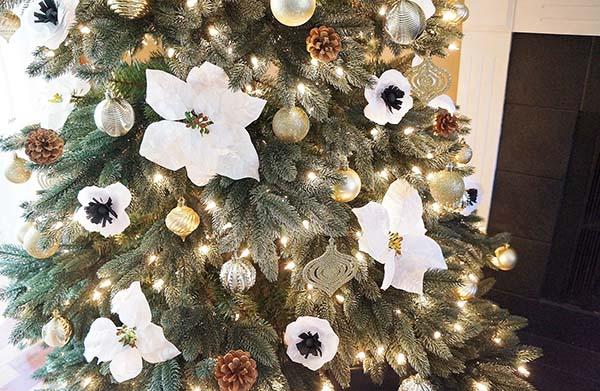 Пуансетти делают новогоднюю елку роскошнее