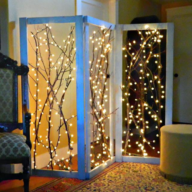 Как сделать новогодний разделитель пространства/ширму с лампочками своими руками