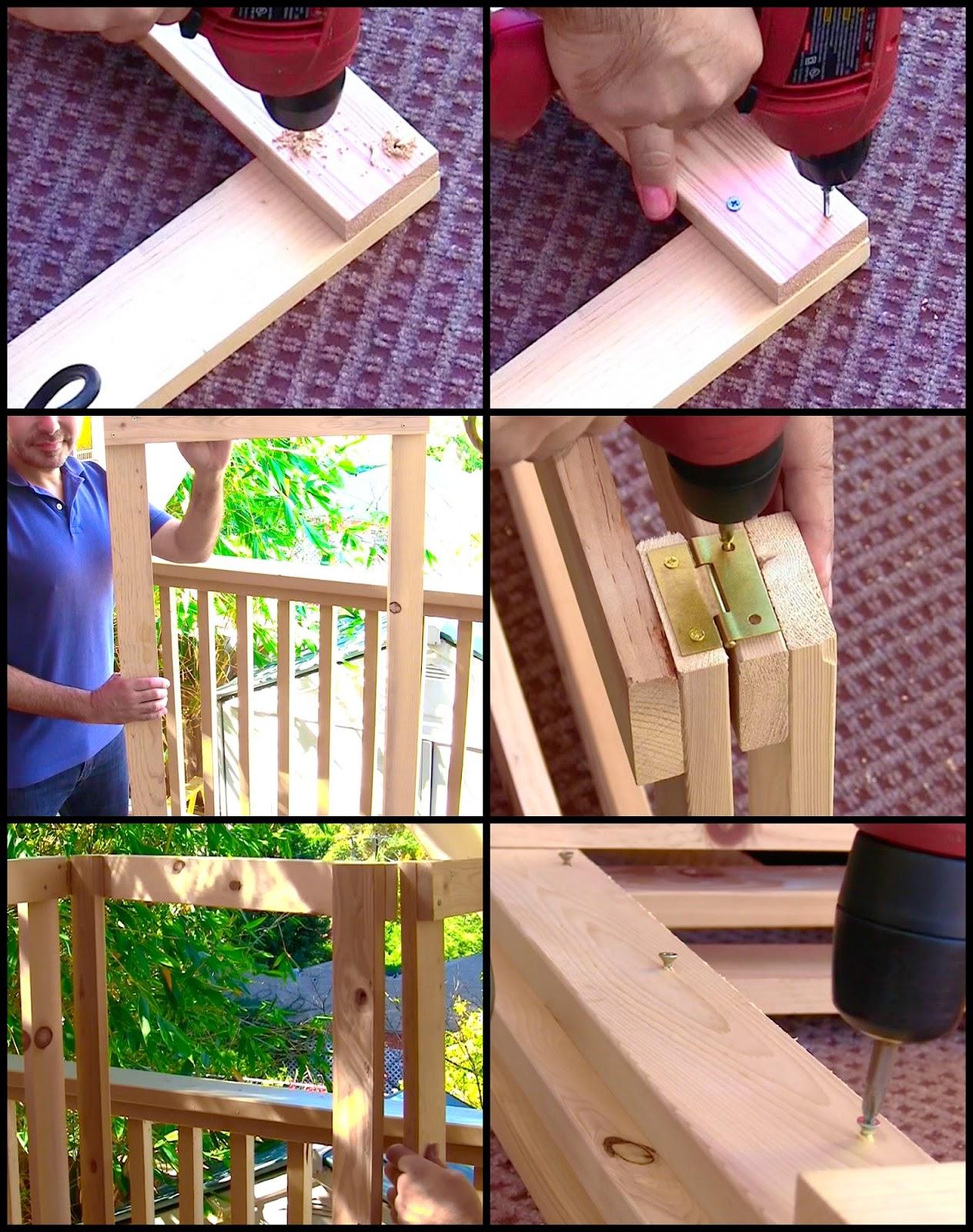 Сначала сколачиваем 3 одинаковых деревянных рамы из досок/брусьев, соединяя последние на углах (как угодно – встык или внахлест, здесь внахлест из-за ограниченной длины винтов) двумя винтами по 3,2 см