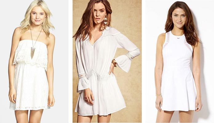 правильная длинная подвеска с белым платьем с кружевами