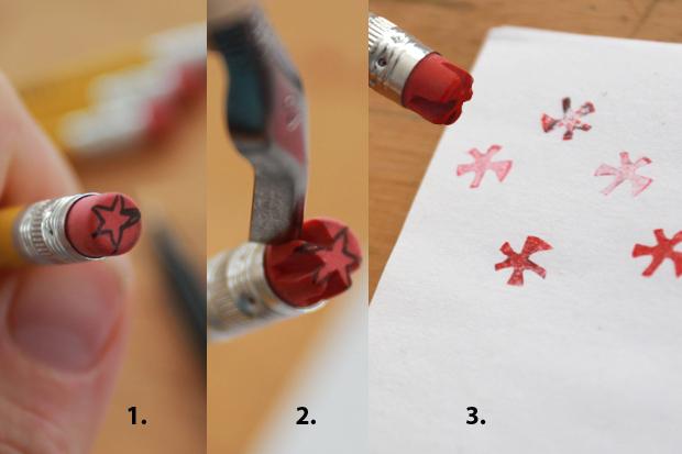 вырезаем печать-звездочку на кончике ластика на карандаше