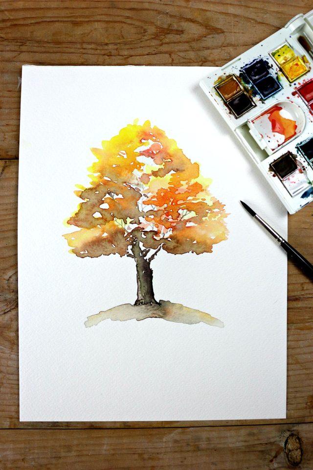 Как профессионально нарисовать осеннее дерево акварелью